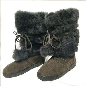 Minnnetonka Suede & Rabbit Fur Mukluks